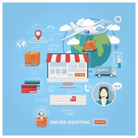 ベクトルのフラット デザイン ショッピング概念、オンライン購入と e コマース ポスター、オンライン ショップとショッピング要素、オンライン ス