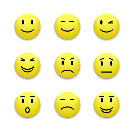 Vector realistic  yellow emotions face buttons, isolated on a white background