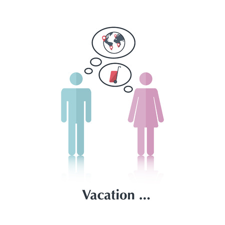 male and female: Vector people icon,pictogram.Concept of vacation planning, family,travel,male,female,speech bubble,earth, pin, suitcase on wheels,red, over white and text Vacation Illustration