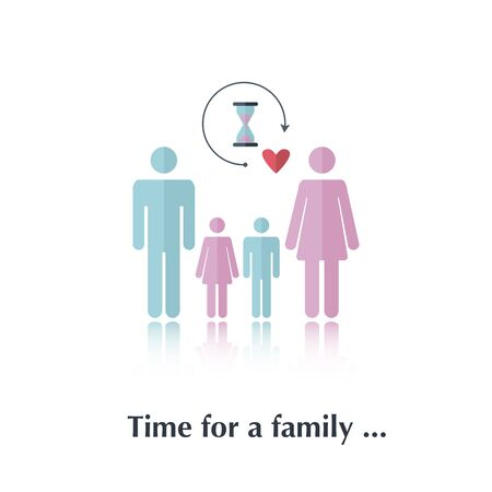 male and female: Vector people icon,pictogramConcept of time family,male,female,speech bubble,children,red,clock over white and text Time for a family in flat style