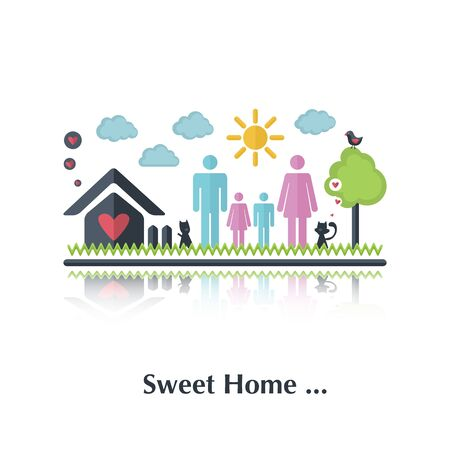 happy family at home: Vector people icon,pictogram.Concept of happy family,relationchip,over white and text Sweet home, in flat style Illustration