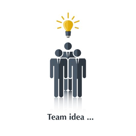black people: Vector  black people icon,pictogram.Concept Business Idea,bulb,businessman, team,over white with text Team idea,in flat stile