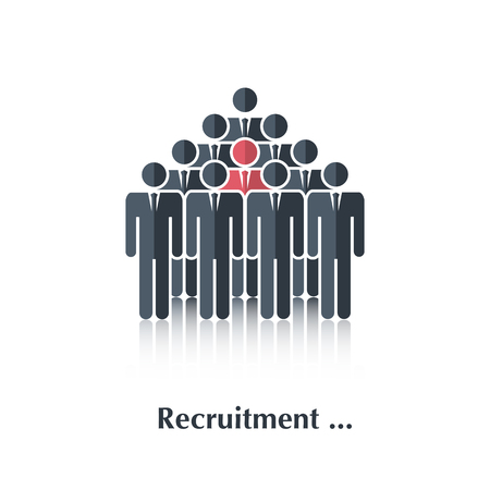 black people: Vector  black people icon,pictogram.Concept recruitment, selection,choice of the person in the crowd,over white with text Recruitment,in flat stile