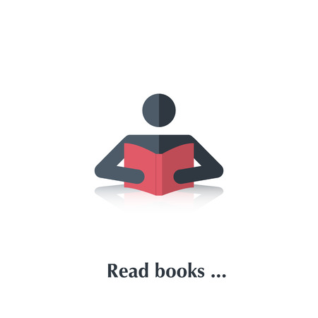student with books: Vector  black people icon,pictogram.Concept read books,education, school, study, literature,library,red book,over white with text Read books,in flat stile Illustration