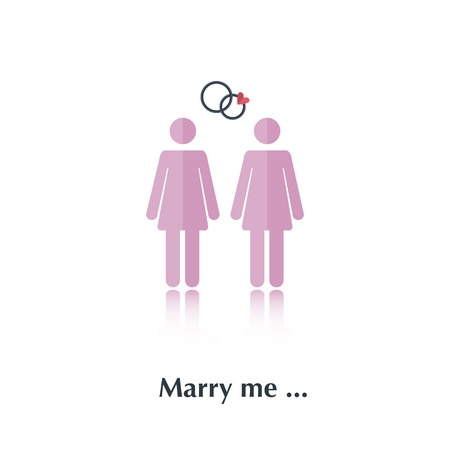 free me: Vector female people icon,pictogram.Concept marriage proposal, free relationships,lesbians,pink,red heart ,over white with text Marry me,in flat stile Illustration
