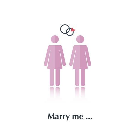 propuesta de matrimonio: Vector gente hembra icono, propuesta pictogram.Concept matrimonio, las relaciones libres, lesbianas, rosa, coraz�n rojo, sobre blanco con el texto C�sate conmigo, en montante plana Vectores