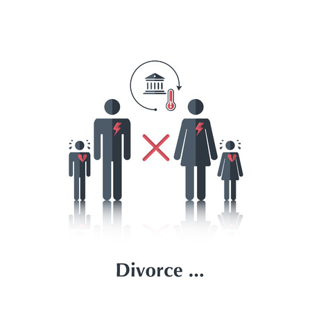unhappy family: Vector family people icon,pictogram.Concept relationship in family, court, divorce, crying child, a broken family, heart,over white with text Divorce,in flat stile Illustration