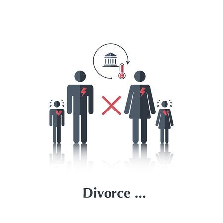 divorce: Vector personas familiares icono, relación pictogram.Concept en la familia, la corte, el divorcio, los niños llorando, una familia rota, corazón, sobre blanco con el divorcio de texto, en montante plana