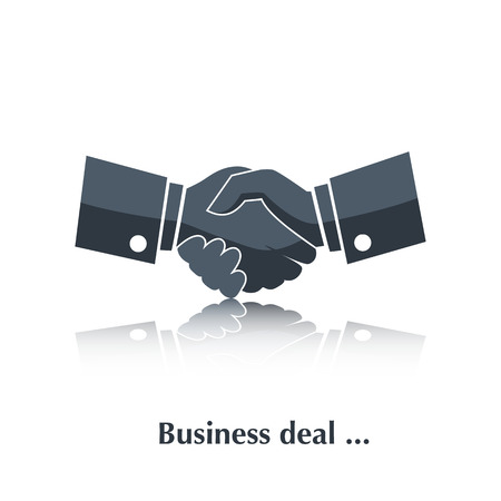 deal in: Vector Partnership,Businessman handshake black icon  color,silhouette with reflection over white and text Business deal in flat style