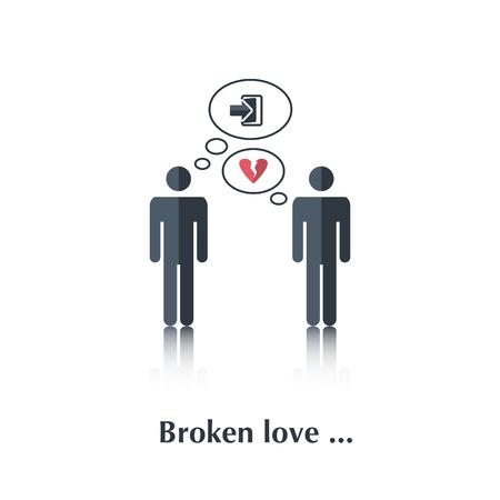 violencia familiar: Vector personas familiares icono, relaci�n gay pictogram.Concept en familia, salir, divorcio, una familia rota, coraz�n, sobre blanco con texto de amor roto, en montante plana