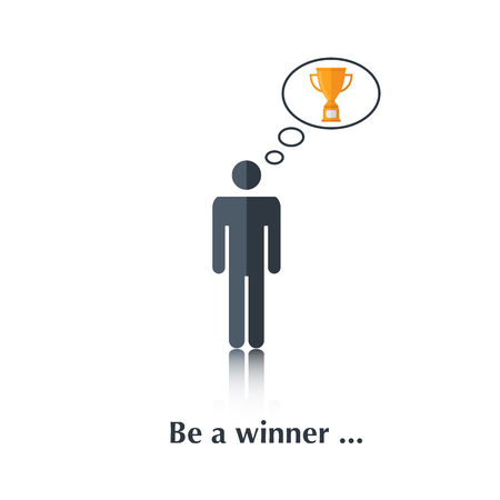 black men: Vector  black  men icon,pictogram.Concept ,winner, award, competition,over white with text Be a winner,in flat stile