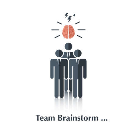 teammates: Vector black business people icon,pictogram.Concept teamwork, business team,brain,over white with text Team Brainstorm,in flat stile
