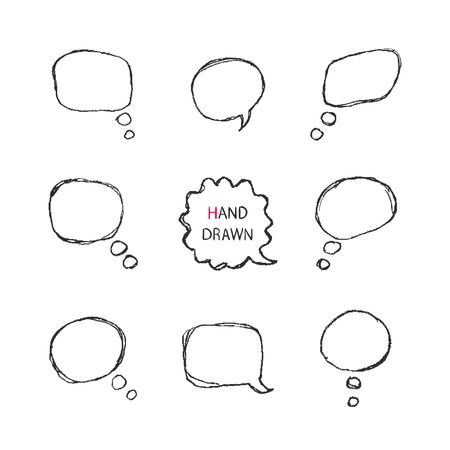 Vector Hand Drawn Speech Bubbles  isolated on a white background.Part II