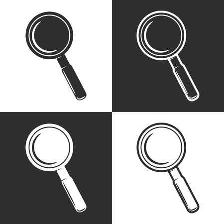 scrutiny: Vector Magnifying Glass sign,icon black and white line over white on a square Illustration