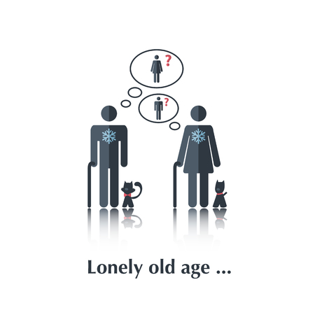 cartoon old man: Vector people icon,pictogram.Concept of  relationships, old people,female,cat,dog,speech bubble over white and text Lonely old age in flat style
