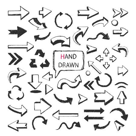 Conjunto grande de las flechas dibujadas mano del vector aislado en un fundamento blanco. Foto de archivo - 40983439