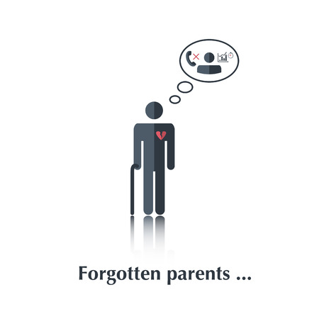 speach: Vector family people icon,pictogram.Concept relationship in family,old age,lonely,leave,telephone, heart,speach bubble,over white with text Forgotten parents,in flat stile