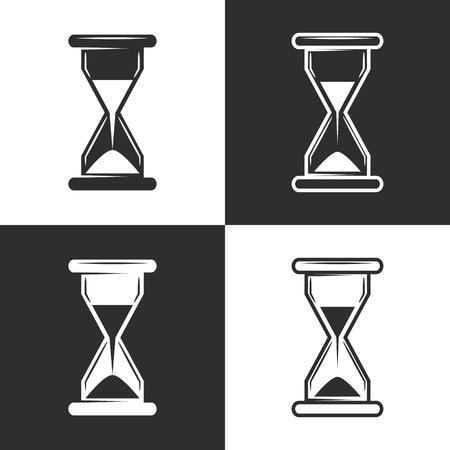 Vector Hourglass sign,icon black and white line over white on a square