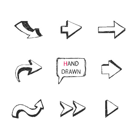 Vector Hand Drawn arrows set isolated on a white background.Part II