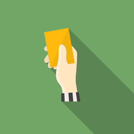 soccer referees hand with red card: Vector hand holding yellow card in soccer,football isolated on a green background. Flat stile with long shadow