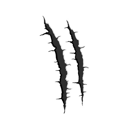 lion claw: Vector black two vertical trace of monster claw, hand scratch ,rip through,break through with shadow and light isolated on white background Stock Photo