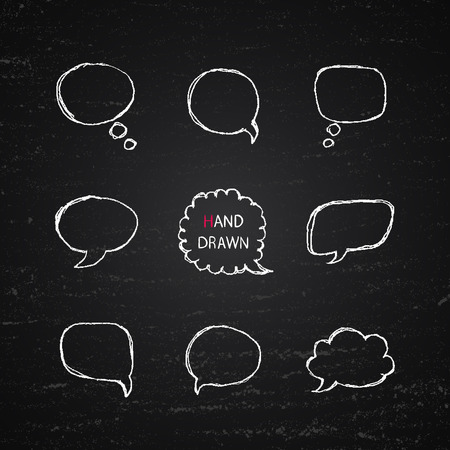 part i: Vector white Hand Drawn speech bubbles isolated on chalk blackboard background. Part I