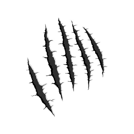 Vector black five vertical trace of monster claw, hand scratch ,rip through,break through with shadow and light isolated on white background
