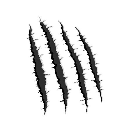 Vector zwarte vier verticale spoor van monster klauw, hand scratch, scheuren door en doorbreken met schaduw en licht op een witte achtergrond