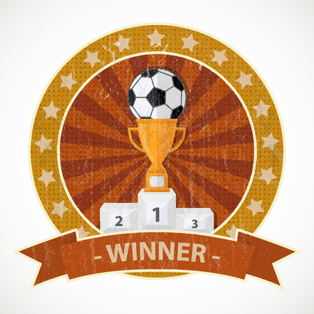 winner: Vector pedestal with cup and soccer ball sign,icon,pictogram  in a circle with stars, isolated on a white background with text Winner on a ribbon in flat style