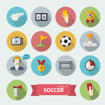corner clock: Vector soccer icons,sign set.Flat design football with commentator,soccer ball,scoreboard,football goals,whistle,television,flag,badge,hand,clock,corner in flat style with shadow