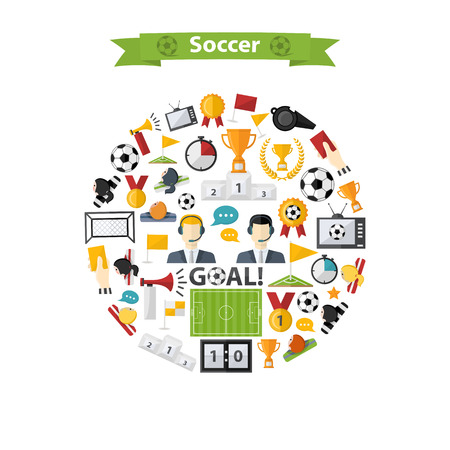 offside: Vector Soccer Icons set in circle.Flat design.Football with womens and mens team, commentators,soccer ball,cup,scoreboard, goals,football field,laurel wreath,whistle,television,flag,badge, horn