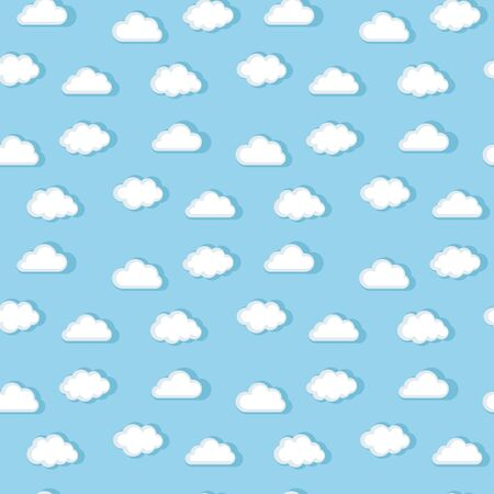 ร   ร   ร   ร  ร ยข  white clouds: Vector seamless white clouds pattern on a blue background in flat style with shadow Illustration
