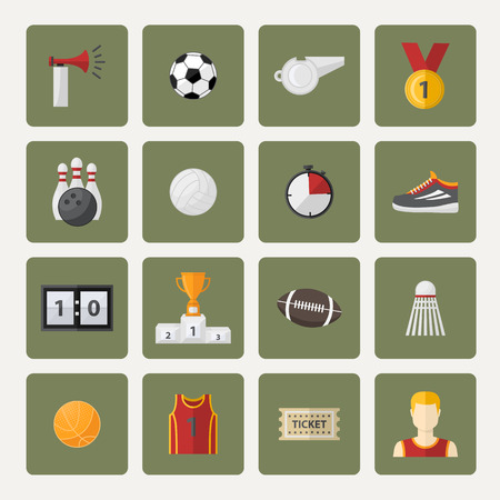 set form: Vector sports icon,sign,symbol,pictogram set,collection in flat style , with sport horn,soccer ball,cup,scoreboard,whistle,badge,sneakers,athletic form,ticket.Different sports equipment.Sports games