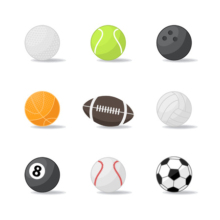 Vector sport balls icon,sign,symbol,pictogram set in flat style isolated on a white background or over white.Different sport equipment and balls.Sports game