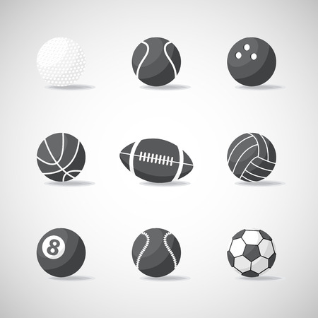 Vector black and white sports balls icon,sign,symbol,pictogram set,collection in flat style isolated , with shadow.Different sport equipment and balls.Sports games