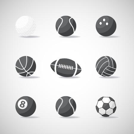 balones deportivos: Vector icono de bolas de deportes en blanco y negro, muestra, símbolo, pictograma conjunto, la colección de aislados estilo plano, con shadow.Different material de deporte y juegos balls.Sports