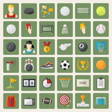 sports equipment: Vector big sports icon,sign,symbol,pictogram set,collection in flat style,with football goals,volleyball net, flag,basket,red card,referee,players,darts,washer.Different sports equipment.Sports games