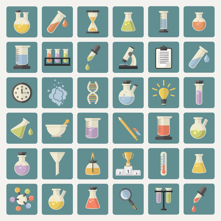 chemistry science: Big Science and research Web Icons set.Chemistry industry for learning and web applications.Hourglass,lamp,DNA,thermometer,burner,watches, pestle,pipette,cup,microscope,funnel, steam, magnifying glass