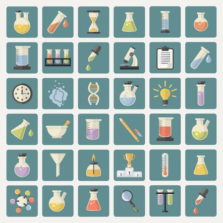 thermometer: Gran Ciencia y la investigación de la industria de iconos Web set.Chemistry para el aprendizaje y la web applications.Hourglass, lámpara, ADN, termómetro, quemador, relojes, maja, pipeta, taza, microscopio, embudo, vapor, lupa Vectores