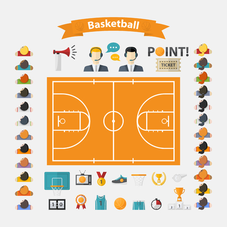 commentators: Basketball Icons set.Flat design with women and men team,commentators,basketball ball,cup,scoreboard,basketball net,field,laurel wreath,whistle,television,horn,point,sneakers,athletic form,ticket Illustration