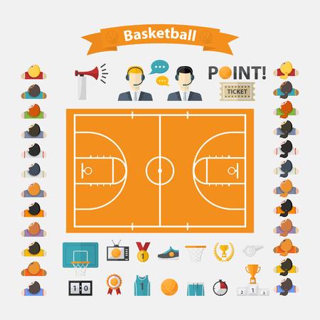 basketball net: Iconos del baloncesto set.Flat dise�o con las mujeres y los hombres del equipo, comentaristas, pelota de baloncesto, taza, marcador, canasta de baloncesto, campo, corona de laurel, silbato, televisi�n, cuerno, punto, zapatillas de deporte, forma atl�tica, boleto