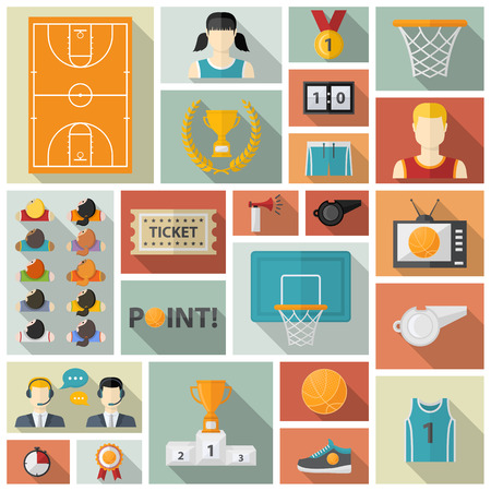 ball point: Vector Basketball collection.Flat style with shadow and sport team,commentators,basketball ball,cup,scoreboard,basketball net,field,laurel wreath,whistle,television,horn,point,sneakers,athletic form