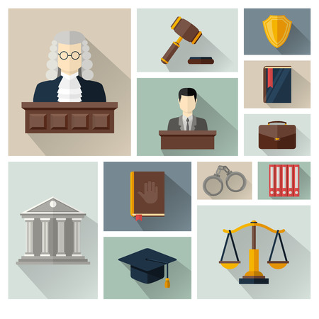 Vector collection or set of law and justice icons sign symbol pictogram in flat style with a Judge briefcase book hammer jurors handcuffs scales hat lawyer court building icon police oath and shadow