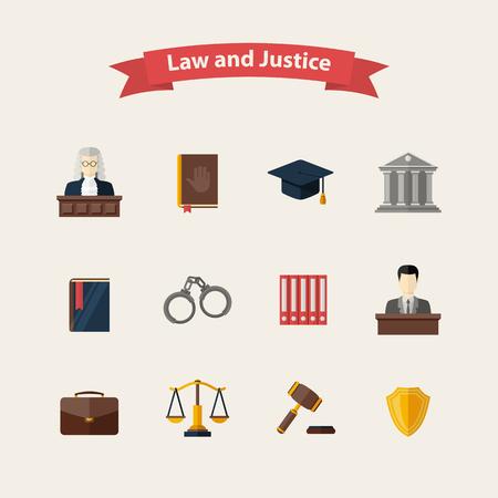 justicia: Derecho y justicia iconos conjunto con un juez jurados maletín libro martillo esposas escalas abogado sombrero edificio del tribunal juramento icono de la policía en el estilo plano, diseño aislado en un fondo blanco