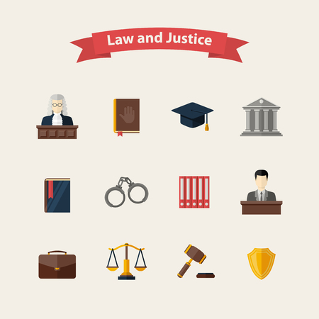 Law and justice icons set with a Judge briefcase book hammer jurors handcuffs scales hat lawyer court building icon police oath in flat style, design isolated on a white background
