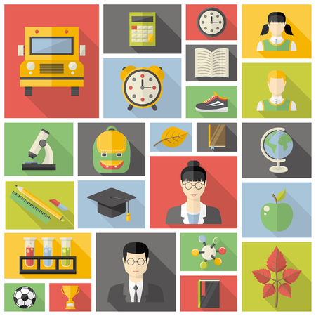 student with books: Education icon set. With hat graduate, apple, books, flasks, alarm clock, briefcase, backpack, school bus, globe, ruler, microscope, cup,t eacher, student,sneakers, autumn leaf, soccer ball in flat style Illustration