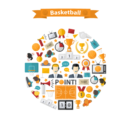 ball point: Vector Basketball Icons set in circle.Flat design with women and men team,commentators,basketball ball,cup,scoreboard,basketball net,field,laurel wreath,whistle,television,horn,point,sneakers