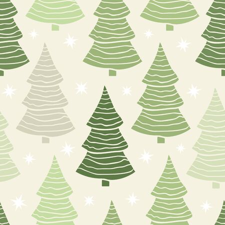 winter tree: Vector seamless with green Christmas tree pattern or New Year tree on a light background .Winter holidays