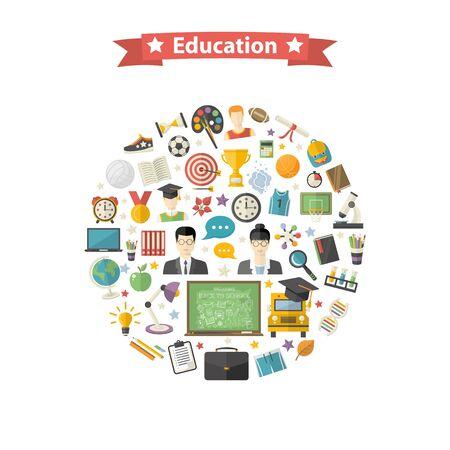 lupa: diseño de iconos de la educación set.Flat con sombrero de graduado, manzana, libros, frascos, despertador, autobús escolar, globo, regla, microscopio, taza, profesor, estudiante, zapatillas de deporte, hoja del otoño, balón de fútbol, ??medalla, la luz, la lupa