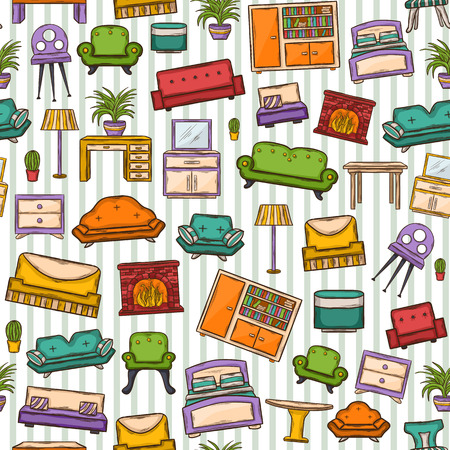 seamless pattern with various home interior decor,home accessories, furniture icons, sofas,armchairs, table,lamp, floor lamp,wardrobe,mirror,bed, chair in doddle style with shadow